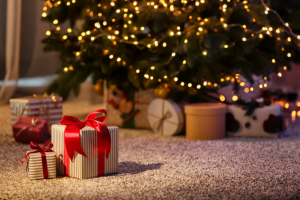 Present under a Christmas tree