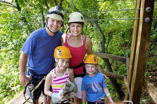 Arkasnsas family enjoying the Eureka Springs Zipline