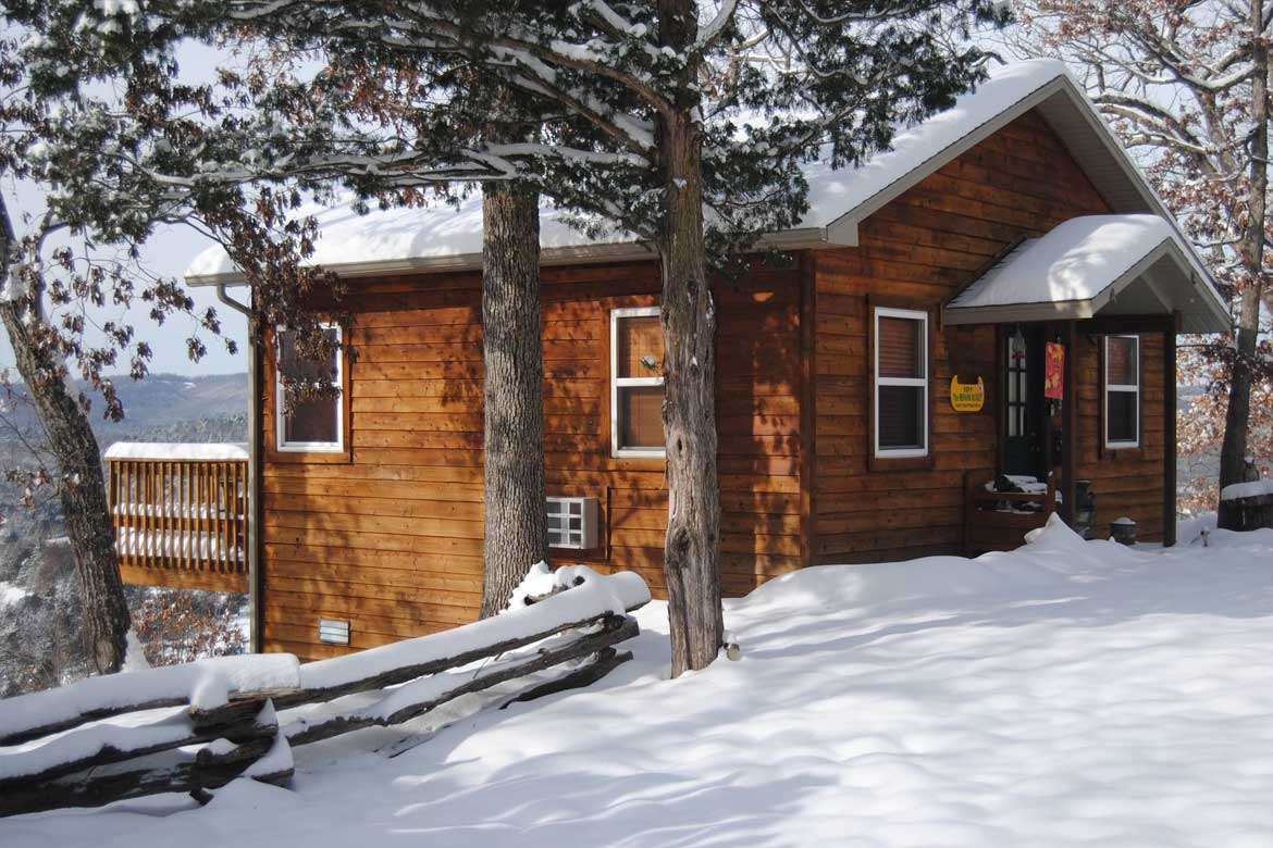 Ozark Mountain cabin in the snow