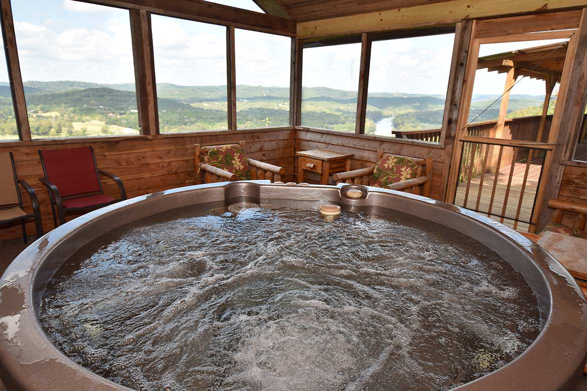 Hot tub with a view of the White River