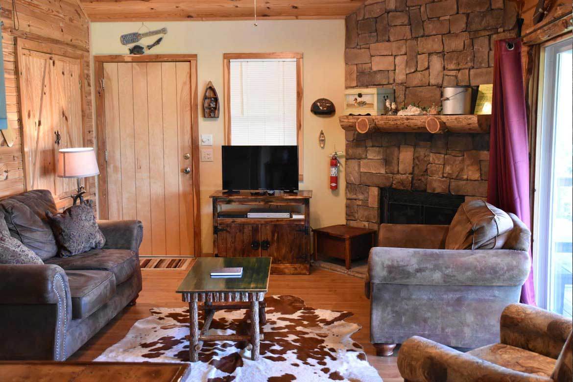 Ozark Mountains rustic comfort cabin interior